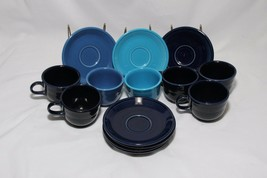 Fiesta Cups and Saucers Blue Set of 7 each - $48.99