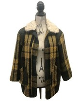 Zara Girls Plaid Loose Coat With Faux Shearling Collar   Green Mustard 1... - $43.01