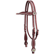 """Weaver Texas Star Concho 5/8"""" Brilde Leather Browband Headstall Chestnut... - $106.47"""