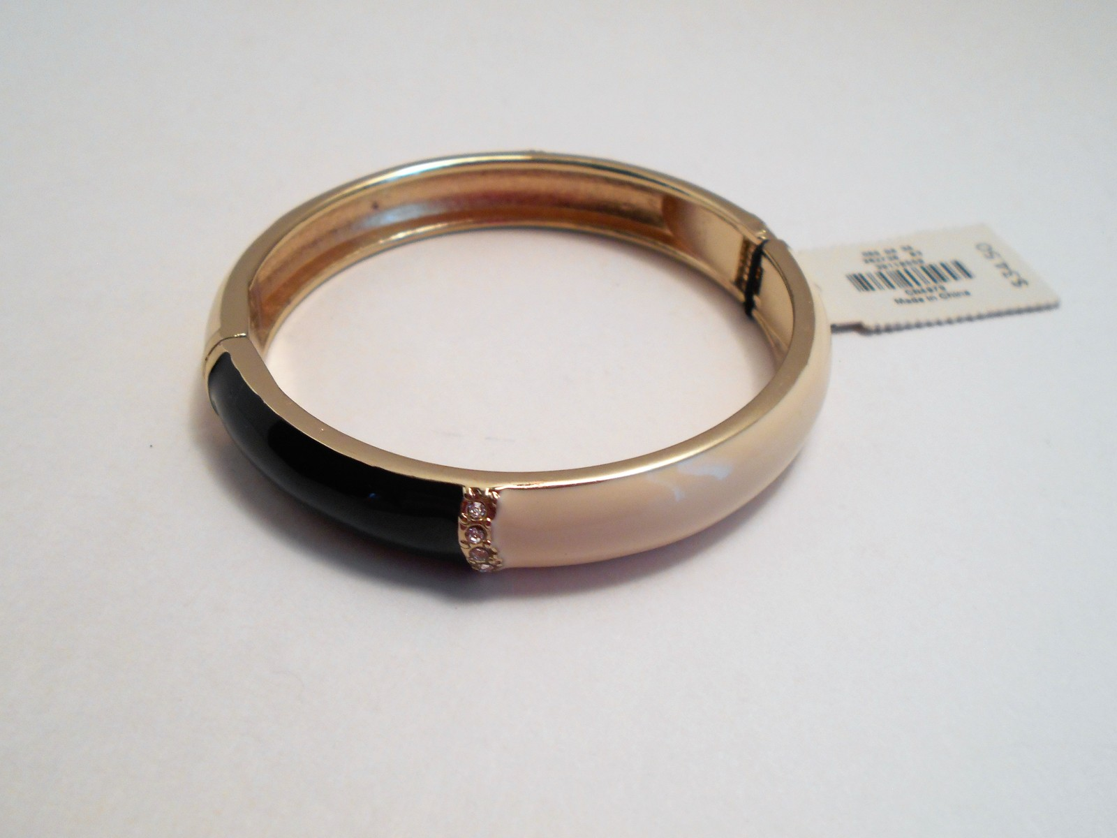 Talbots Navy & Ivory Enamel Rhinestone Bangle Bracelet New With Tags image 5