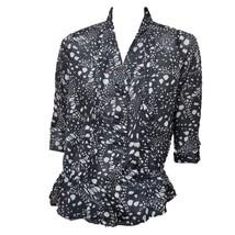 Gap Womens Black Gray Print 3/4 Sleeves Button-Down Shirt Top Sz S - $10.89