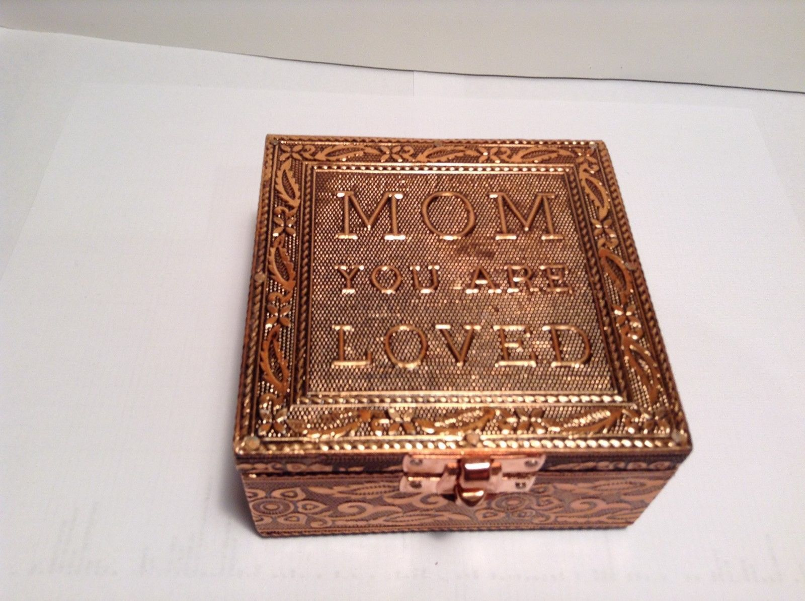 NEW Handcrafted Copper Jewelry Box w Mom You Are Loved Design