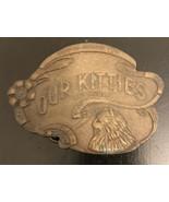 Vintage 1970s Our Kitties Cat House Novelty Brass Belt Buckle Hawks Reno... - $19.80