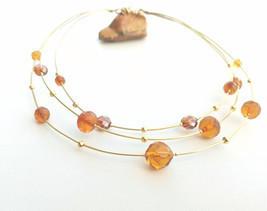 Golden brass wire choker, yellow vintage crystals, mulstistrand wire nec... - £28.77 GBP