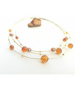 Golden brass wire choker, yellow vintage crystals, mulstistrand wire nec... - £32.39 GBP