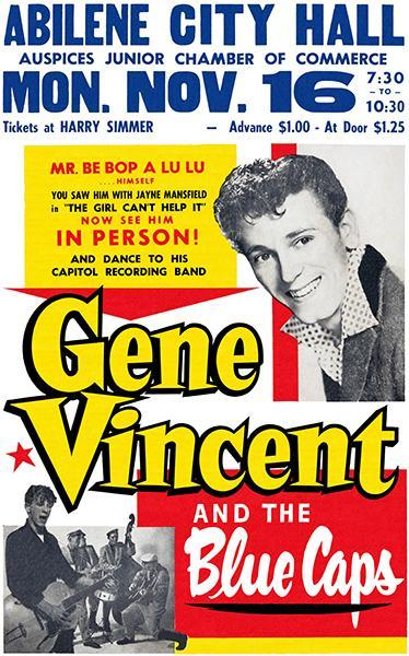 Primary image for Gene Vincent & The Blue Caps - Abilene City Hall - 1959 - Concert Poster