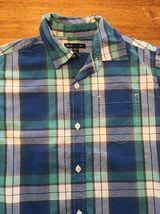 Gap Kids Boy's Blue, Green & White Plaid Short Sleeve Dress Shirt - Size: Medium image 3