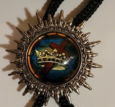 Knights Templar Bolo Necklace Tie - Crown & Cross Blue Background image 1