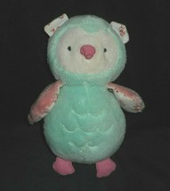 "9"" Carter's 60107 Baby 2013 Mint Green Owl Bird Stuffed Animal Plush Toy Lovey - $45.82"