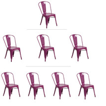 PURPLE TOLIX STYLE METAL STACK INDUSTRIAL CHIC DINING CHAIR 1, 3 OR 4 QTY - $56.88+