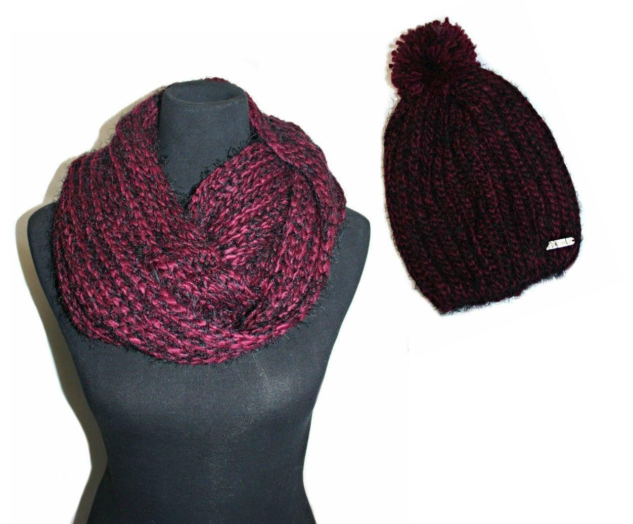 bebe 2 Pcs Cold Weather Set - Hat and Infinity Loop Scarf, Color: Burgundy/Black - $32.99