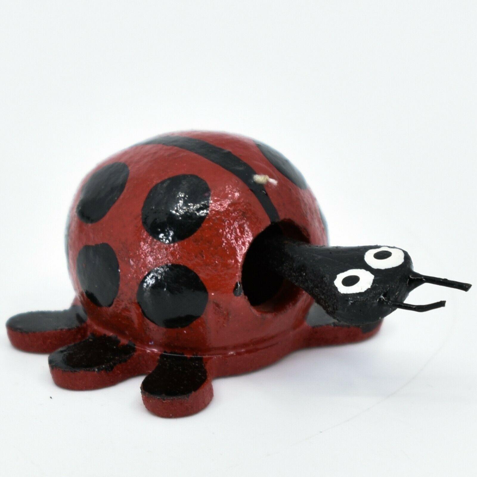 Handmade Oaxacan Wood Carving Folk Art Miniature Ladybug Bobble Head Figurine