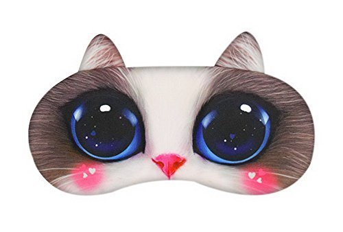 Funny Cartoon 3D Cat Eyes Sleep Mask Creative Light Shading Eye Mask, White Pink