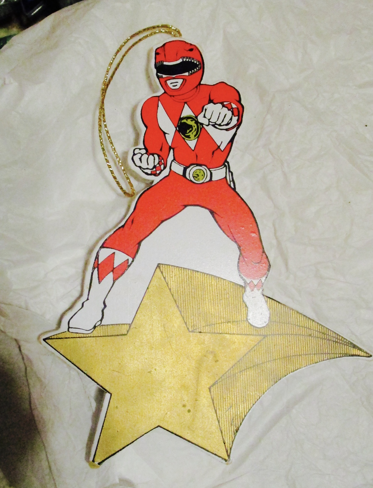 VTG POWER RANGERS WOOD CHRISTMAS ORNAMENT SABAN RED RANGER 1995