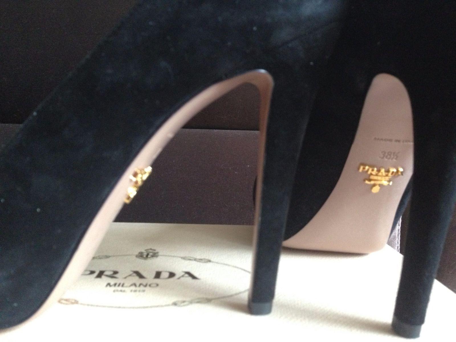 NIB Prada Suede Leather Black Peep Open Toe Platform Heel Pump 38.5