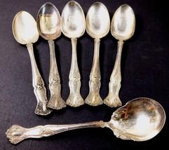 VTG 1847 Rogers Bros Silver plate lot of 6 tea sugar spoon Berry Grape p... - $59.40