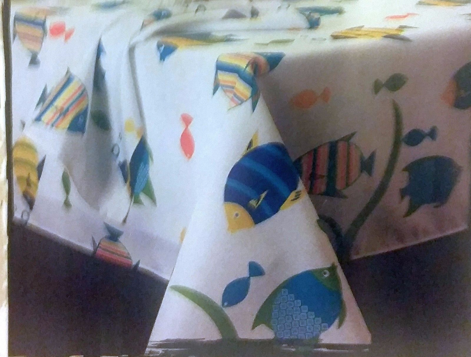 "Polyester Tablecloth 60"" - 84"" OBLONG, (6-8 people) TROPICAL FISH MEDLEY - $14.84"