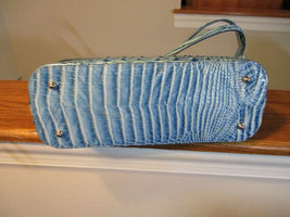 Brahmin Mini Asher Shoulder Bag Embossed Croco Leather Cerulean Melbourne NWT image 4
