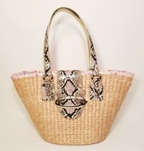 Guess Woven Basket Purse Wicker Faux Leather NEW - $38.69