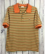 Lacoste Mens Shirt Short Sleeve Striped Rugby Polo Style Green Orange A6-11 - $18.99