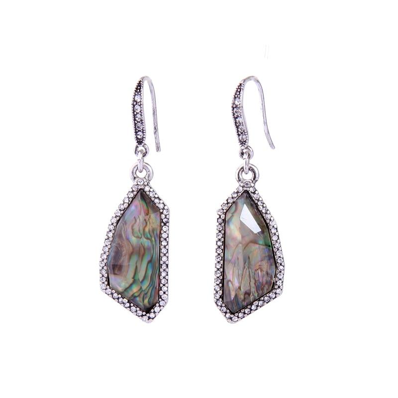 Antique Shell Brown Resin Geometry Drop Earrings For Women Gift