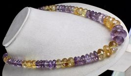 NATURAL CITRINE AMETHYST BEADS FACETED 1 LINE 875 CARATS GEMSTONE NECKLACE image 3