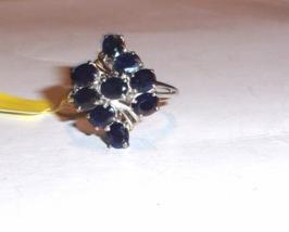 Kanchanaburi Blue Sapphire Oval Cocktail Ring, 925 Silver, Size 8, 4.15(TCW) - $125.00