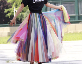 Rainbow Pleated Skirt Womens Rainbow Stripe Skirt Tulle Maxi Skirt Outfit image 3