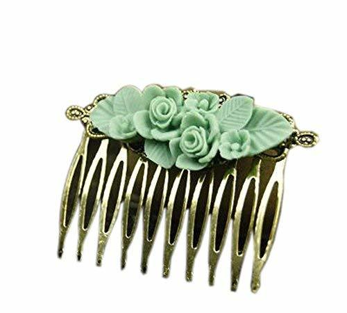 Set of 2 Classical Hair Comb Metal Green Flower Hair Decoration Chic Hair Comb