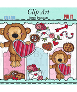 Valentine Monkey Clip Art - $1.35