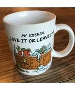 """My Kitchen Love It or Leave It Cup Mug Hallmark Japan 3.75"""" X 3.25"""" Cat Rescue - $7.17"""