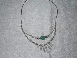Estate Southwest Magnetic Silver Smooth Barrel w Faux Turquoise & White ... - $10.39