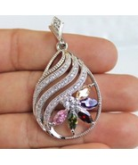 18 K White Gold Filled Multi-gem Pendant Necklace Amethyst Morganite Top... - $15.83