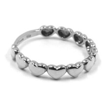 SOLID 18K WHITE GOLD BAND RING, ROW OF ROUNDED HEARTS, HEART, MADE IN ITALY image 2