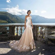 Strapless Mermaid Wedding Dresses Natural Slim Bridal Gown Lace Embroidered Trim