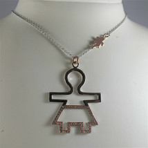 925 SILVER, AQUAFORTE NECKLACE, RHODIUM SILVER, ROSE PLATED BABY CHARM, ZIRCONIA image 1