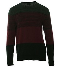 Alfani Men's Burgundy Gray Port Combo Crewneck Striped Knit Pullover Sweater New - $27.99