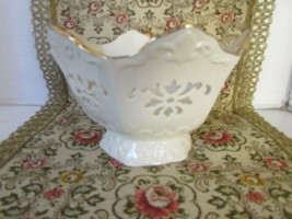 "LENOX BONE CHINA LANGTRY PIERCED BOWL  4.5""H X 7""W MADE IN USA IVORY W/G... - $24.70"