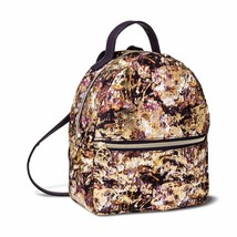 Sonia Kashuk Distress Floral Gold Foil Backpack Travel Cosmetic Case NWT