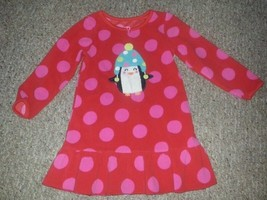 Carter's Red And Pink Polka Dot Penguin Fleece Nightgown Xsmall Size 2T - $3.66