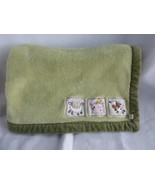 Fisher Price Green Baby Blanket Animals Pig Cow Sheep farm animals - $39.15