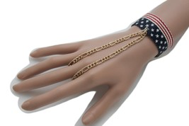 Women Slave Ring Gold Metal Hand Chain 4th Of July American Flage Bracel... - $14.69