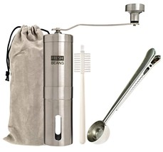 FRESH BEANS FULL KIT Stainless Steel Manual Coffee Grinder with Conical ... - $54.49