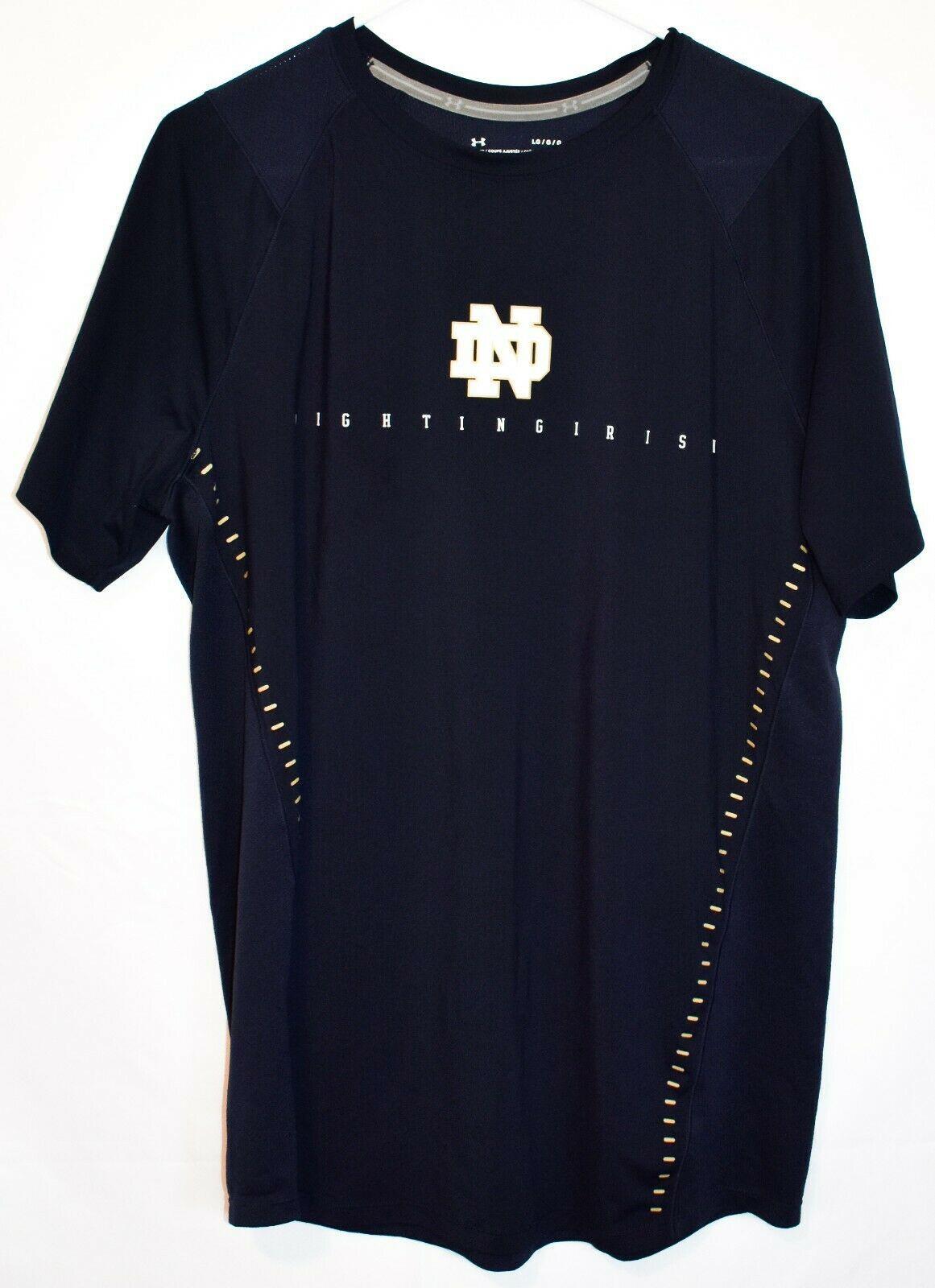 Under Armour Fitted HeatGear Notre Dame Fighting Irish Men's Navy Shirt Size LG