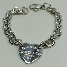 Return To Tiffany Heart Tag Charm Link Bracelet Sterling Silver Authentic - $169.75