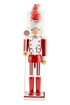 Clever Creations Wooden Christmas Soldier Nutcracker   Red and White Out... - $29.72