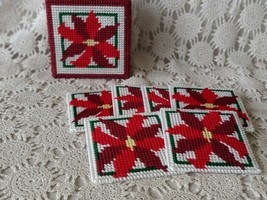 Handmade Needle Point Christmas Holiday Poinsettia Coaster Set of 6 - $11.63