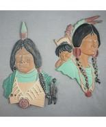 Vtg Sexton Metal Indian Man Woman Baby Figurines Wall Art 3D Sculpture H... - $14.80