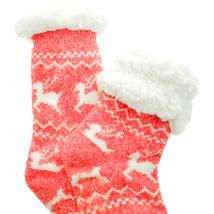 Urban-Peacock Knitted Fleece Sherpa Lined Slipper Socks-Marled Reindeer ... - $10.95