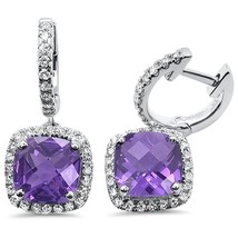 2.75ct 10k White Gold Cushion Amethyst & Diamond Pendant 18 inch Necklace - $604.97